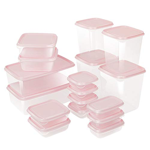 Auslaufsichere Lebensmittelbehälter aus BPA-freiem Plastik, Hochwertige und luftdichte Meal Prep Boxen, 17 Teiliges Set als Vorratsdosen Snackbox Brotdose oder Lunchbox,Rosa