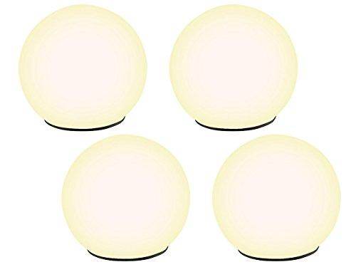 Lunartec Solar Kugelleuchten: Solar-Glas-Leuchtkugel warmweiß mit Dämmerungsschalter 4er-Set (Solar Leuchtkugeln)