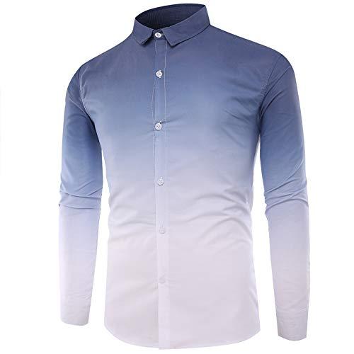 Camisas de Color Degradado de Moda para Hombres Camisas de Manga Larga con Tendencia Americana de un Solo Pecho Slim Fit XX-Large