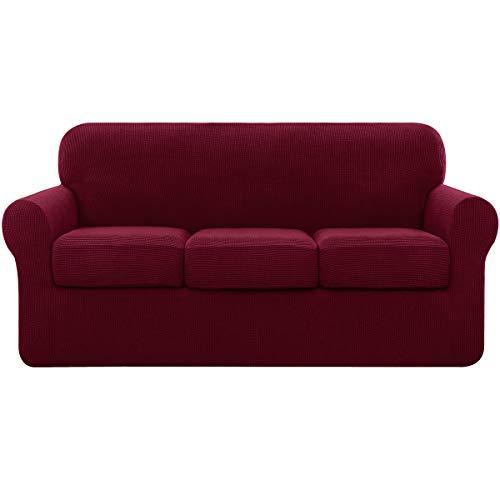 subrtex Sofabezug mit separaten Kissenbezügen, Stretch-Sofaschonbezug, Ersatz Anti-Rutsch-Möbelschutz