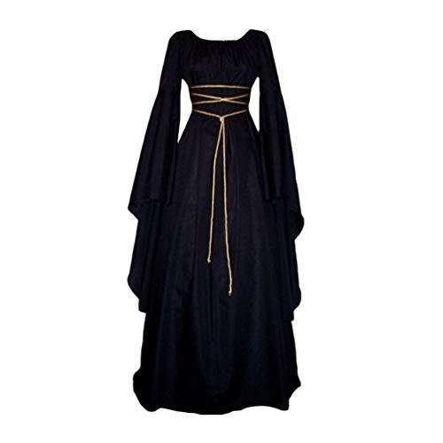 Kaiyei Vestido Dama Medieval Cuello Redondo Mangas Largas Vintage Vestidos de...