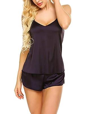 Ekouaer Sleepwear Womens Sexy Lingerie Satin Pajamas Cami Shorts Set Nightwear Deep Purple