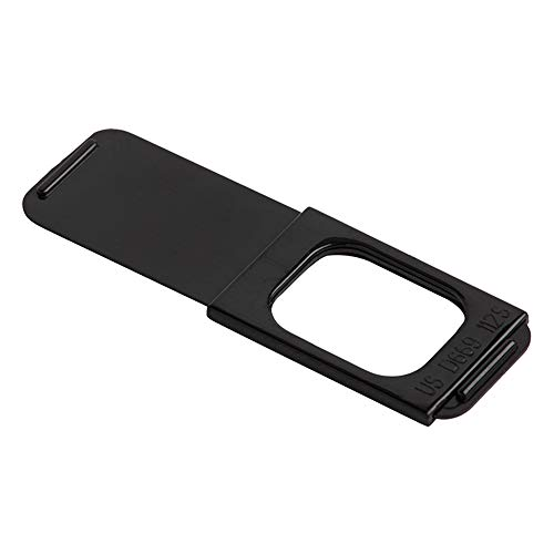 "C-Slide Webcam Cover - Thin Sliding Laptop Cam Blocker, Black, 1.5"" x 0.5"" and 1.5mm Thick - Thin Cam Slide Blocker for Computer, Tablet, Dell, Lenovo, HP, Echo Show, iPad, Chromebook"