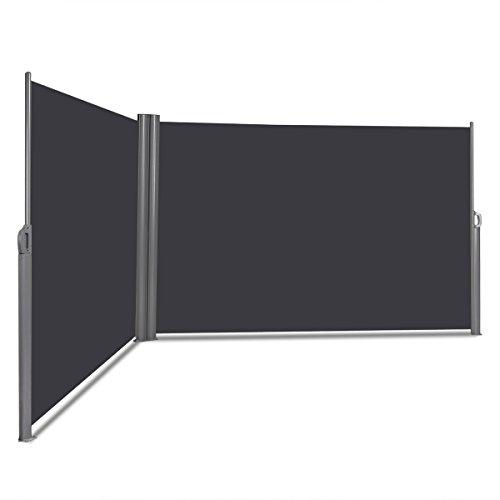 COSTWAY Doppelseitenmarkise ausziehbar, Seitenmarkise Markise Seitenwandmarkise Sichtschutz Sonnenschutz Windschutz für Garten, Veranda und Terrasse (160x600cm, Grau)