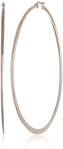 Amazon Essentials Rose Gold Plated Stainless Steel Flattened Hoop Earrings (70mm)