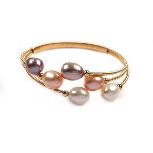 yuge Brazaletes de perlas de agua dulce natural de pavo real forma encantos pulsera accesorios de joyería apertura ajustable 7-8mm púrpura