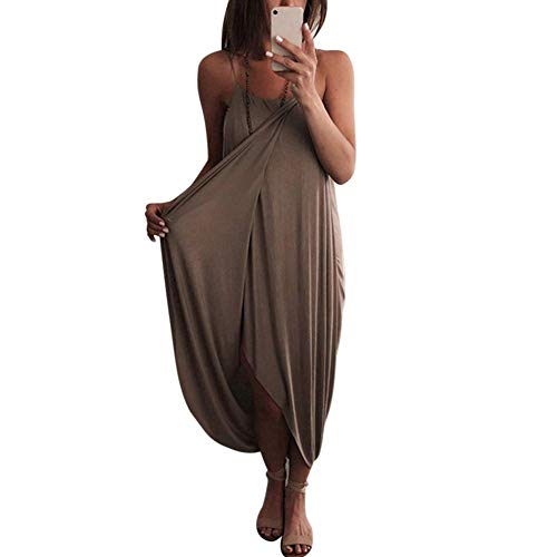 Huaheng vrouwen luchtige Maxi jurk effen kleur breien mouwloos los voor zomer strand partij L Koffie