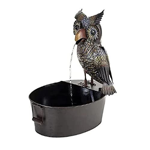 Fuente de agua para decoración artística, diseño de búho, fuente de agua, fuente de agua de cuervo de resina, fuente de agua de cuervo de metal de 6 pulgadas