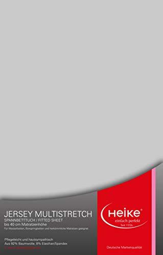 Heike das hochelastische Spannbettlaken Multistretch 92% Mako-Baumwolle 8% Elastan Deutsche Markenqualität 240 gr/m2 bis 40 cm Höhe für Wasser- Boxspringbetten und herkömmliche Matratzen (Silbergrau)