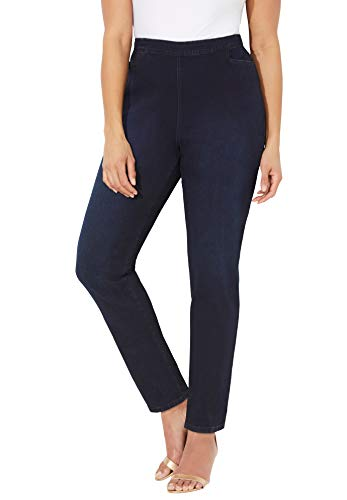 Catherines Women's Plus Size Petite Essential Flat Front Jean - 1XWP, Dark Wash Blue (1832)