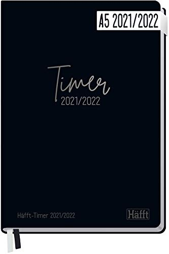 Häfft - Timer 2021/2022 A5 [Just Black] kalendarz ucznia w twardej oprawie, planer szkolny, planer studentów, planer semesterski na wyższy poziom, szkolenie lub studia | trwały i neutralny dla środowiska