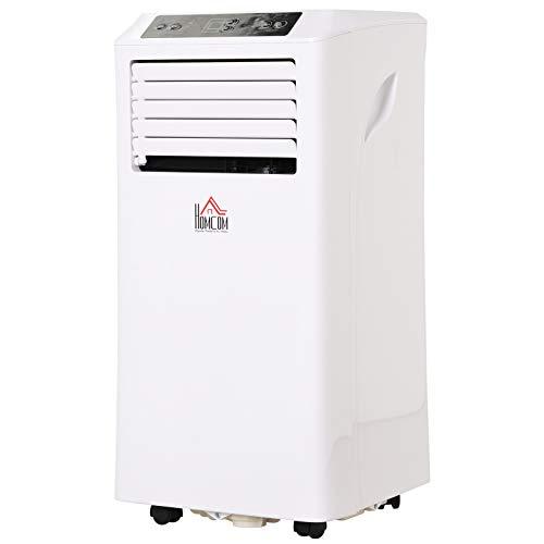 HOMCOM Mobile Air Conditioner W/Remote Control Cooling Dehumidifying Ventilating White - 9000BTU