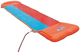 Bestway H2OGO! Double Inflatable Water Slide for Outdoor Summer Family Fun Party with Speed Ramp, Orange/Blue (Renewed)