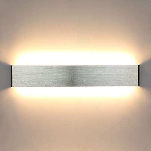 Lightess 20W 50CM Wandleuchte Innen LED Treppenhaus Lampen Moderne Wandlampe Silber mit Up Down Licht IP44 aus reinem Aluminium für Wohnzimmer Schlafzimmer FlurTreppen usw, Warmweiss, 50cm