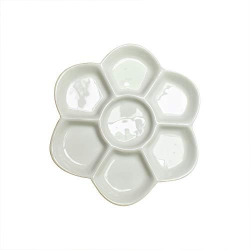 Yuauy paleta de pintura de flores de 5 pulgadas de diámetro, paleta de pintura de acuarela esmaltada para mezclar de cerámica