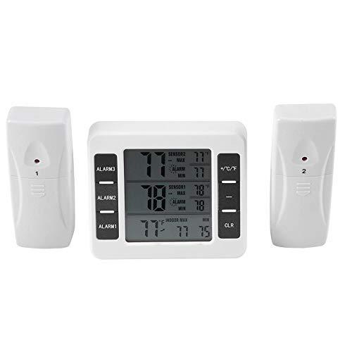 Thermomètre de Frigo, Numérique Thermomètre de Réfrigérateur Sans fil Alarme Auditive avec 2 Pièces de Capteur Min/Max Affichage