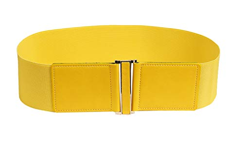Modeway 3' Wide Stretch Elastic Cinch High Waist Belts For women With Gold Buckle (XXL(37-40inch), Yellow)
