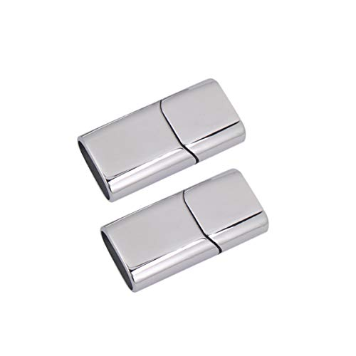 EXCEART 2pcs Flat Magnetic Jewelry Clasps Stainless Steel Security Clasps Closure End Cap Connector for DIY Leather Bracelet Necklace Jewelry Making Accessory