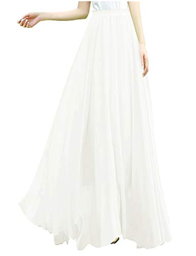 v28?Women Full/Ankle Length Elastic Retro Maxi Chiffon Long Skirt (S,White)