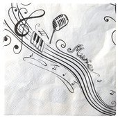 Servietten Noten Musik, c. 33 x 33 cm, 20 St.