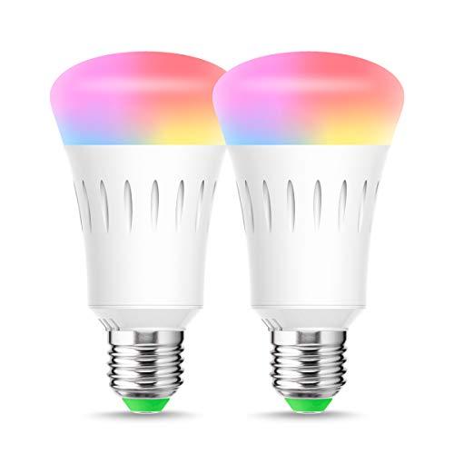 Alexa Glühbirnen, E27 Wifi Lampe, RGBCW, LOHAS 9W RGB LED Birne, Smart LED Lampe, Kaltweiß&Warmweiß&RGB, Dimmbar mit APP, Kompatibel mit Alexa, Echo, Google Home, IFTTT, Stimmenkontrolle, 2er Pack