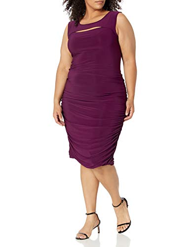 Star Vixen Damen Sleeveless Peekaboo Rouched Bodycon Dress Legeres Abendkleid, Plum Solid, Groß