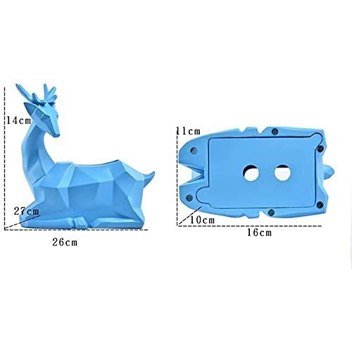 Hengqiyuan Esculturas Estatuas Moderno Abstracto Ciervo Resina Caja de Tejido Animal Sala de Estar Decoración del hogar Artesanía,10.6 * 2.7 * 5.5inch