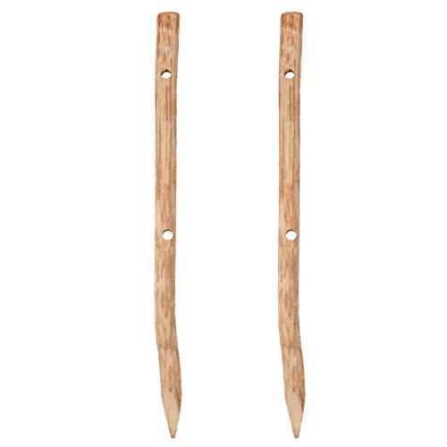 UNUS GARDEN Zaunpfahl Pfosten aus Holz Haselnuss 120cm mit zwei Löchern ideal für Zaunelemente (2er Set)
