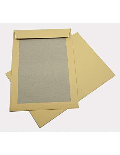 100x braune Papprückwandtasche DIN B4 250 × 353 mm Versandtasche mit Papprücken 400g gerade Klappe haftklebend ohne Fenster großer Briefumschlag braun mit Papprückwand aus Graupappe