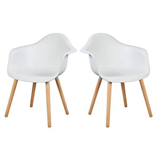 Elightry Esszimmerstühle 2er Set Esszimmerstuhl mit Lehne Design Stuhl Küchenstuhl Holz Weiß