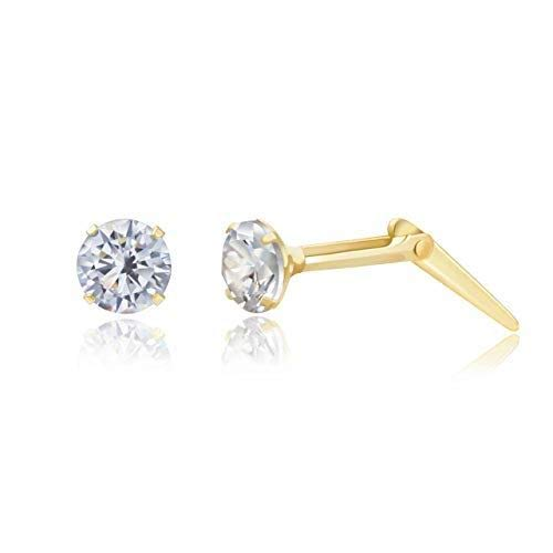 9ct yellow gold 3mm white cubic zirconia cz Andralok stud earrings/gift box