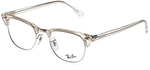 Ray-Ban RX5154 Clubmaster Square Prescription Eyeglass Frames, White Transparent/Demo Lens, 49 mm