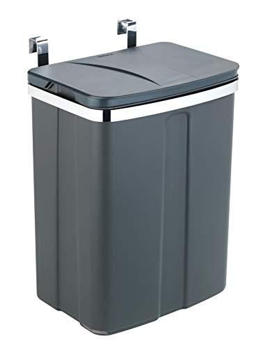 WENKO Tür-Abfalleimer, Mülleimer zum Einhängen an Schubladen- und Schranktüren, geeignet für Badezimmer und Küche, ohne Bohren, aus Kunststoff und Stahl, Füllmenge 12 l, 22 x 6 x 23 cm, Grau