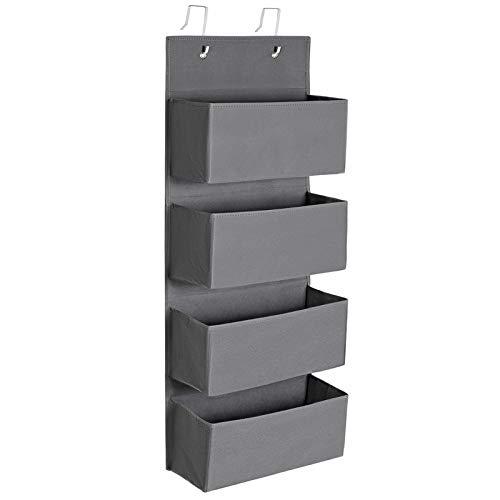 SONGMICS Hängender Organizer mit 4 Taschen, Hängeaufbewahrung für die Tür, für Schlafzimmer, Büro, Kinderzimmer, 33,5 x 12 x 100 cm, grau RDH04G
