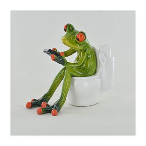 Prezents.com Comical Frogs - On the Toilet Small Resin Figurine Great For Home Gift
