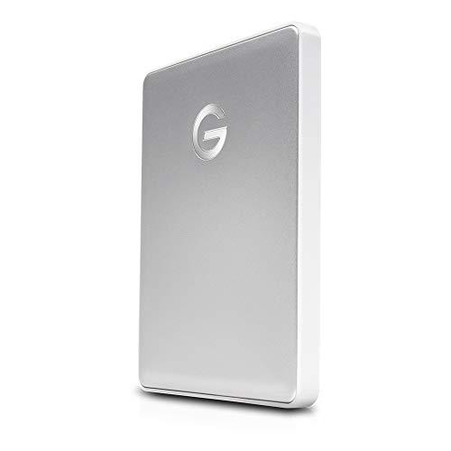 G-Technology G-Drive Mobile USB-C 2 TB (elegantes Aluminium-Design, schnelle Übertragungsrate 140 MB/s, USB-C-fähig, kompatibel mit USB 3.0 und Thunderbolt 3, Mac-kompatibel) silber