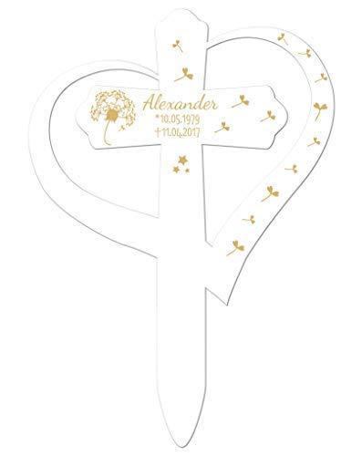 Livingstyle & Wanddesign Personalisiertes Grabkreuz mit Herz, Pusteblume 2 in Weiß, klein 25 x 17,5 cm