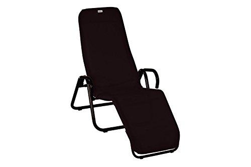 acamp Gartenliege klappbar | Wetterfest beschichteter Liegestuhl Garten | Liegestuhl klappbar mit Bezug aus atmungsaktivem Acatex-Gewebe | Kippliege mit hohem Liegekomfort in Anthrazit