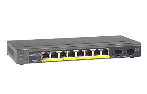 Netgear GS110TP 10-Port Gigabit Ethernet LAN PoE Switch Smart Managed Pro (mit 8x PoE 53W, 2x 1G-SFP, Desktop- oder Wand-Montage mit ProSAFE Lifetime-Garantie)