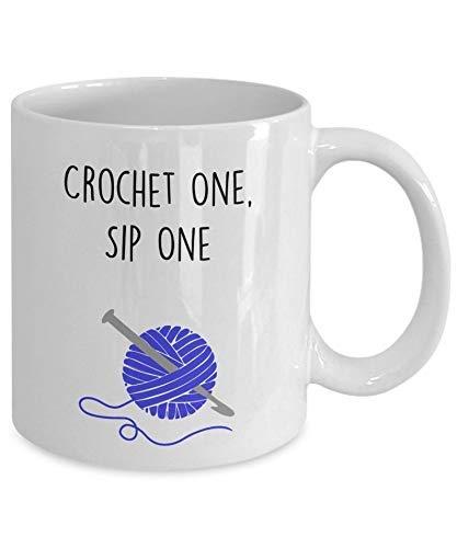 N\A Taza Divertida de Ganchillo - Crochet One, Sip One - Taza para Tejer con té y Chocolate Caliente - Novedad para Regalo de cumpleaños