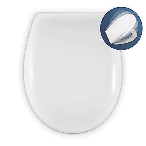 WC Sitz MIT ABSENKAUTOMATIK | UNIVERSAL O Form | KOMPATIBLER TOILETTENSITZ | Einstellbarer SOFTCLOSE SCHARNIER | Easy-CLEAN & EINFACH ZU INSTALLIEREN | WEIß | 43 x 36 x 5,5 cm