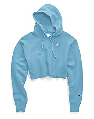 Champion Reverse Weave Cropped Cut Off Hoodie (Active Blue, XS)