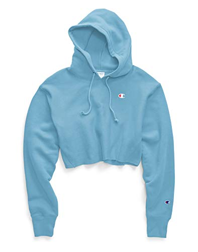 Champion Reverse Weave Cropped Cut Off Hoodie (Active Blue, S)