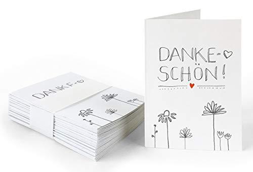 25 Geschenkanhänger - Dankeschön - Weiß mit Blumen, originelle Mini Dankeskarten zum Geschenke Beschriften, Handlettering, edel exklusiv individuell, A7 Recyclingpapier Klappkarten