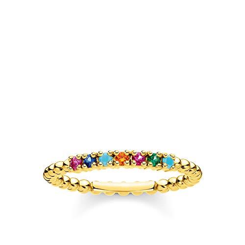 THOMAS SABO Damen Ring Kugeln farbige Steine Gold 925 Sterlingsilber, 750 Gelbgold Vergoldung TR2323-488-7