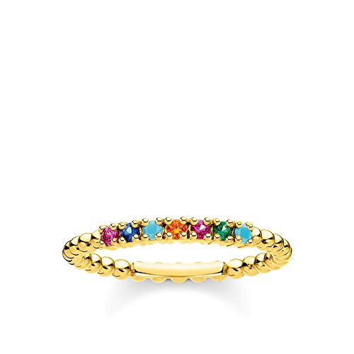 Thomas Sabo Women Ring dots Colourful Stones Gold 925 Sterling Silver, 18K Yellow Gold Plating TR2323-488-7