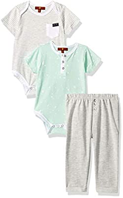 7 For All Mankind Baby Boys 3 Piece Bodysuit and French Terry Pant Set, Brook Green Stripe, 3-6 Months