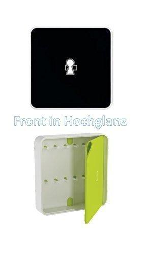 Conny Clever Schlüsselschrank aus hochwertigem Kunststoff 32x32cm schwarze Glanzoberfläche/Haky Box/Key Box/Schlüsselbox/Schlüsselkasten