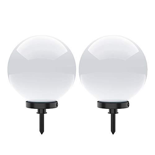Kugelleuchte aussen, Gartenlampe 2er Set Ø40cm | Außenleuchte spritzwassergeschützt | Gartenleuchte, E27-Fassung | Kugellampe mit Erdspieß