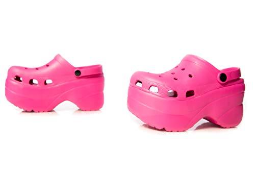 Cape Robbin Gardener Platform Clogs Slippers for Women, Women's Fashion Comfortable Slip On Slides Shoes - Pink Size 9